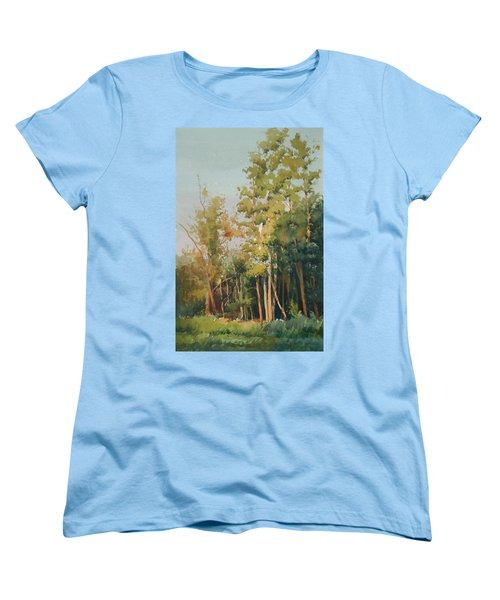 Women's T-Shirt (Standard Cut) featuring the painting Color Of Light by Helal Uddin