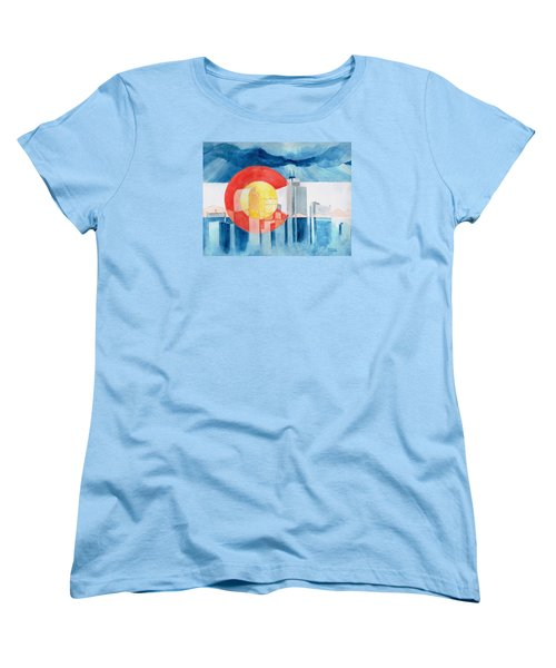 Women's T-Shirt (Standard Cut) featuring the painting Colorado Flag by Andrew Gillette