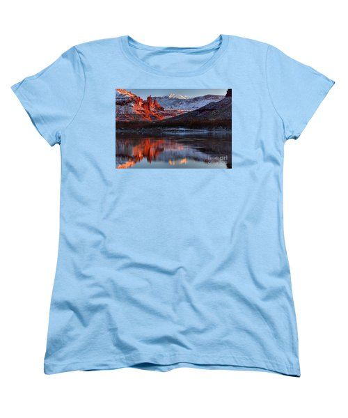 Women's T-Shirt (Standard Cut) featuring the photograph Colorado Red Tower Reflections by Adam Jewell