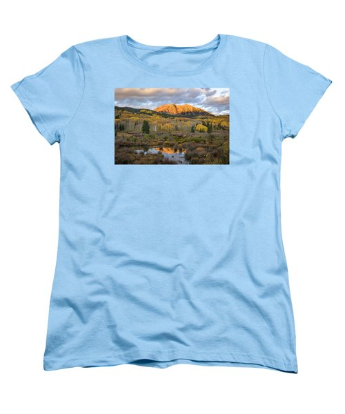 Women's T-Shirt (Standard Cut) featuring the photograph Colorado Sunrise by Phyllis Peterson