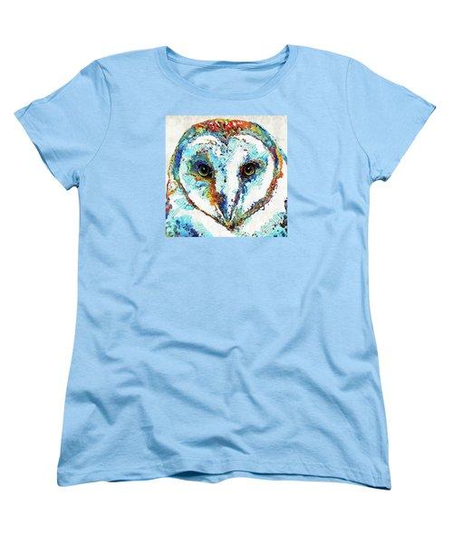 Women's T-Shirt (Standard Cut) featuring the painting Colorful Barn Owl Art - Sharon Cummings by Sharon Cummings