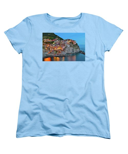 Women's T-Shirt (Standard Cut) featuring the photograph Colorful Buildings Colorful Lights by Frozen in Time Fine Art Photography