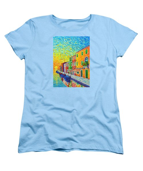 Colorful Burano Sunrise - Venice - Italy - Palette Knife Oil Painting By Ana Maria Edulescu Women's T-Shirt (Standard Cut) by Ana Maria Edulescu