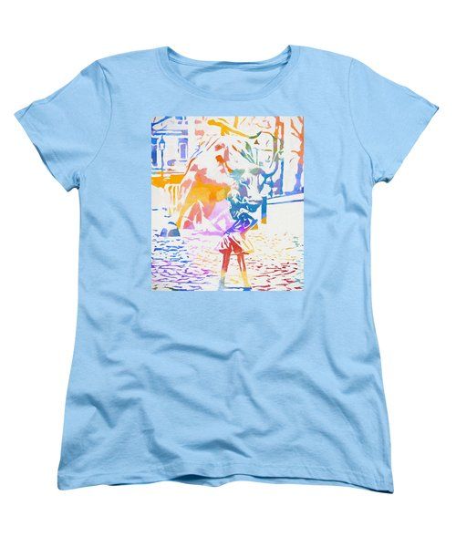 Women's T-Shirt (Standard Cut) featuring the painting Colorful Fearless Girl by Dan Sproul