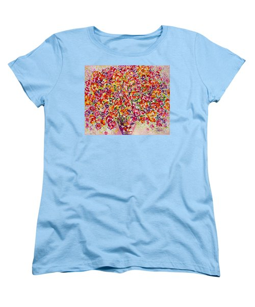 Women's T-Shirt (Standard Cut) featuring the painting Colorful Organza by Natalie Holland
