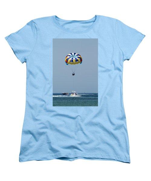 Colorful Parasailing Women's T-Shirt (Standard Cut) by Kathy Clark