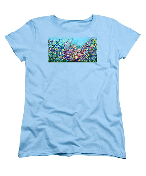 Women's T-Shirt (Standard Cut) featuring the painting Colorful Spring Flowers by Maja Sokolowska