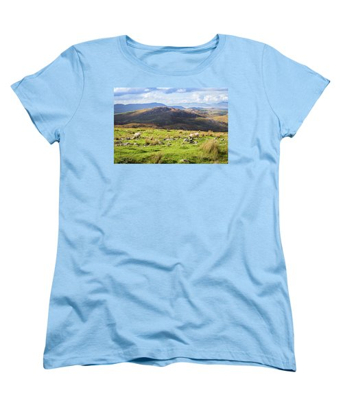 Women's T-Shirt (Standard Cut) featuring the photograph Colourful Undulating Irish Landscape In Kerry With Grazing Sheep by Semmick Photo
