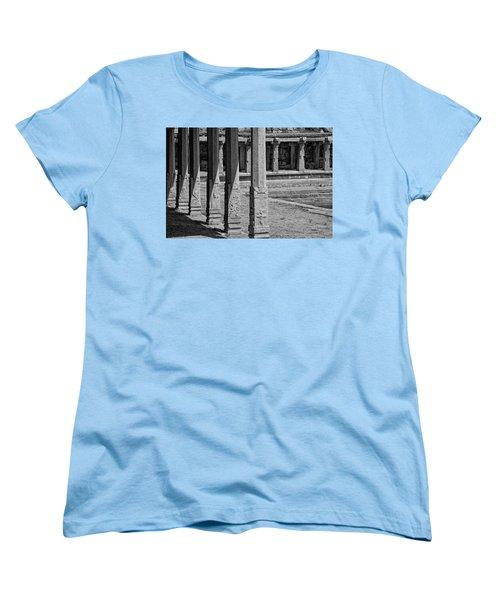 Women's T-Shirt (Standard Cut) featuring the photograph Composition Of Pillars, Hampi, 2017 by Hitendra SINKAR