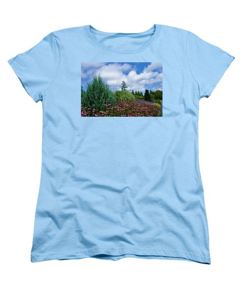Women's T-Shirt (Standard Cut) featuring the photograph Coneflowers And Clouds by Lois Lepisto