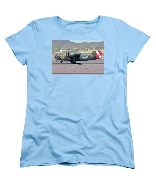 Women's T-Shirt (Standard Cut) featuring the photograph Consolidated B-24j Liberator N224j Witchcraft Deer Valley Arizona April 13 2016 by Brian Lockett