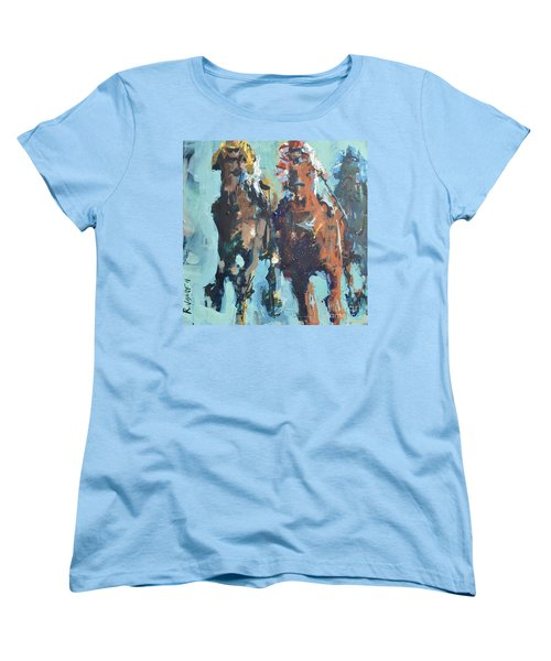 Women's T-Shirt (Standard Cut) featuring the painting Contemporary Horse Racing Painting by Robert Joyner