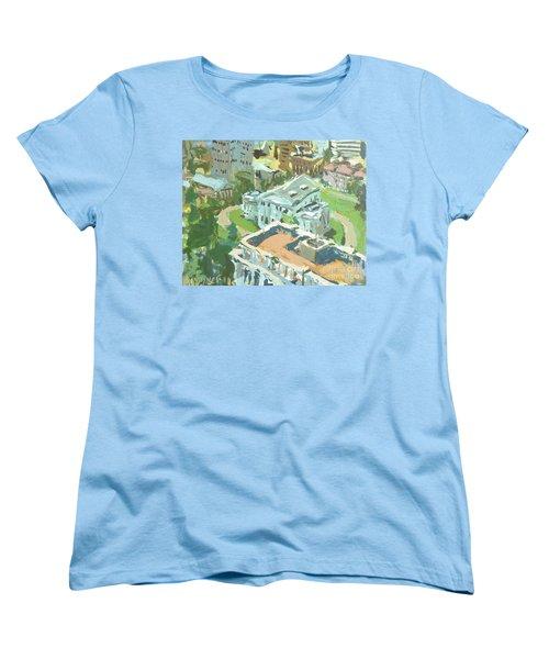 Women's T-Shirt (Standard Cut) featuring the painting Contemporary Richmond Virginia Cityscape Painting Featuring Virginia State Capitol Building by Robert Joyner