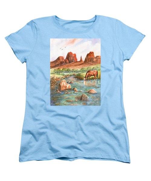 Women's T-Shirt (Standard Cut) featuring the painting Cool, Cool Water by Marilyn Smith