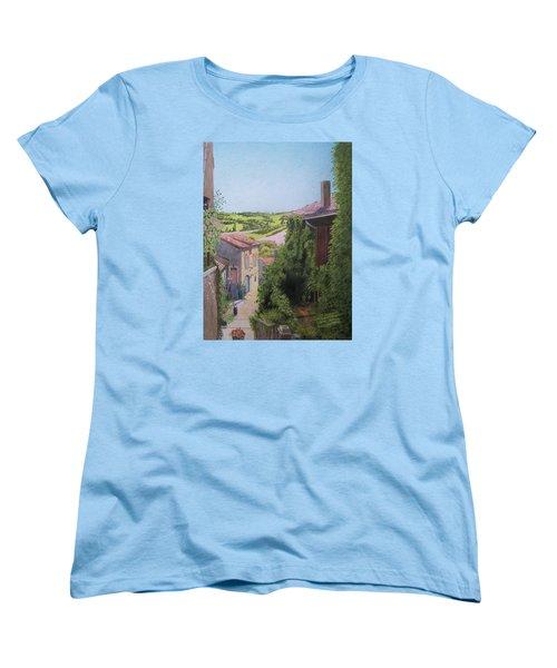Women's T-Shirt (Standard Cut) featuring the mixed media Cordes Sur Ciel by Constance DRESCHER
