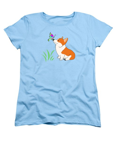 Women's T-Shirt (Standard Cut) featuring the drawing Corgi With Butterfly T-shirt by Kathy Kelly