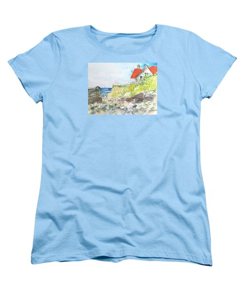 Women's T-Shirt (Standard Cut) featuring the painting Cornfield Point Old Saybrook by Gertrude Palmer