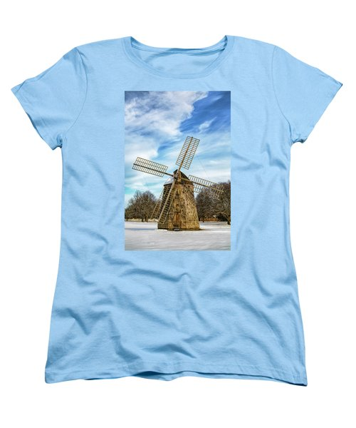 Women's T-Shirt (Standard Cut) featuring the photograph Corwith Windmill Long Island Ny Cii by Susan Candelario