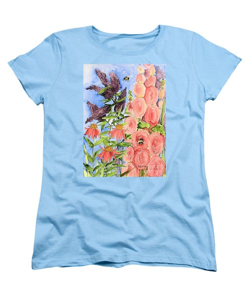 Women's T-Shirt (Standard Cut) featuring the painting Cottage Garden Hollyhock Bees Blue Skie by Laurie Rohner