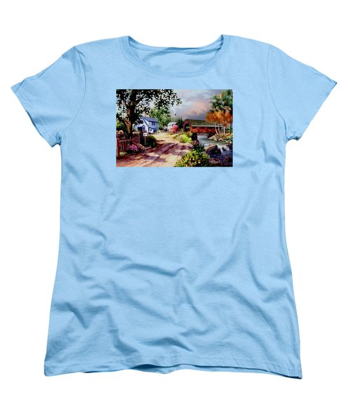 Country Covered Bridge Women's T-Shirt (Standard Cut) by Ron Chambers