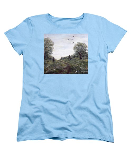 Women's T-Shirt (Standard Cut) featuring the painting Country Road by Judy Kirouac