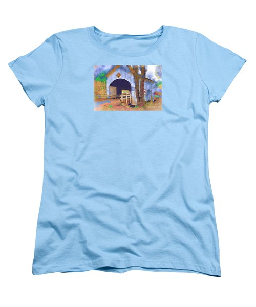 Women's T-Shirt (Standard Cut) featuring the digital art Covered Bridge In Watercolor by Kirt Tisdale