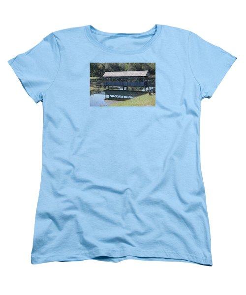 Covered Bridge Painting Women's T-Shirt (Standard Cut) by Debra     Vatalaro