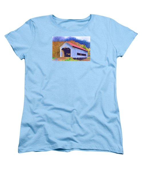 Covered Bridge With Red Roof Women's T-Shirt (Standard Cut) by Kirt Tisdale