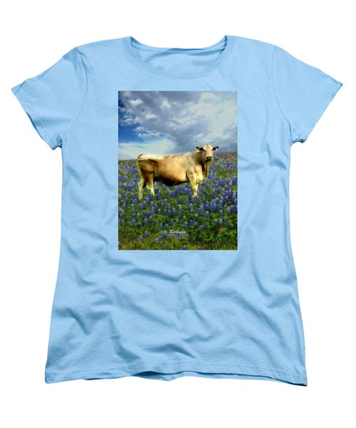 Women's T-Shirt (Standard Cut) featuring the photograph Cow And Bluebonnets by Barbara Tristan