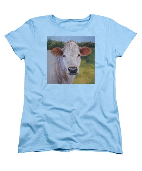 Cow Painting Ms Ivory Women's T-Shirt (Standard Cut) by Cheri Wollenberg