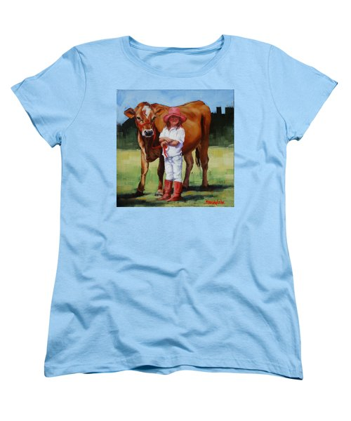Women's T-Shirt (Standard Cut) featuring the painting Cowgirl Besties by Margaret Stockdale