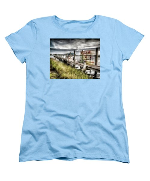 Crabber's Dock, Surf City, North Carolina Women's T-Shirt (Standard Cut) by John Pagliuca