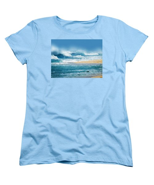 Women's T-Shirt (Standard Cut) featuring the digital art Crashing Waves by Anthony Fishburne