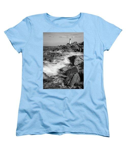 Women's T-Shirt (Standard Cut) featuring the photograph Crashing Waves, Portland Head Light, Cape Elizabeth, Maine  -5605 by John Bald
