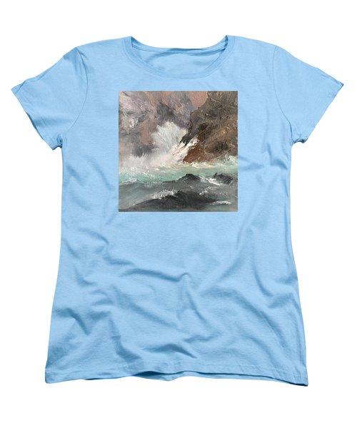 Crashing Waves Seascape Art Women's T-Shirt (Standard Cut)