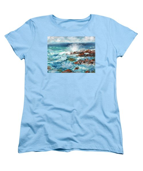 Women's T-Shirt (Standard Cut) featuring the painting Crashing Waves by Walter Fahmy
