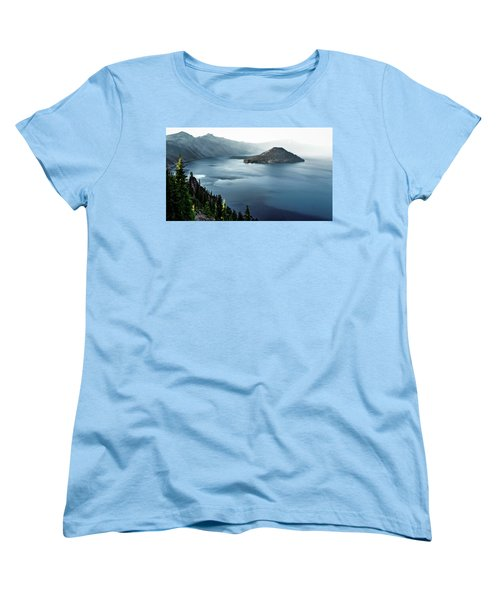 Women's T-Shirt (Standard Cut) featuring the photograph Crater Lake Under A Siege by Eduard Moldoveanu