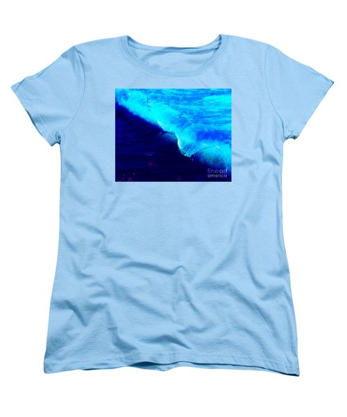 Crystal Blue Wave Painting Women's T-Shirt (Standard Cut) by Catherine Lott