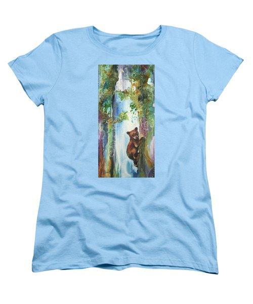 Women's T-Shirt (Standard Cut) featuring the painting Cub Bear Climbing by Christy Freeman