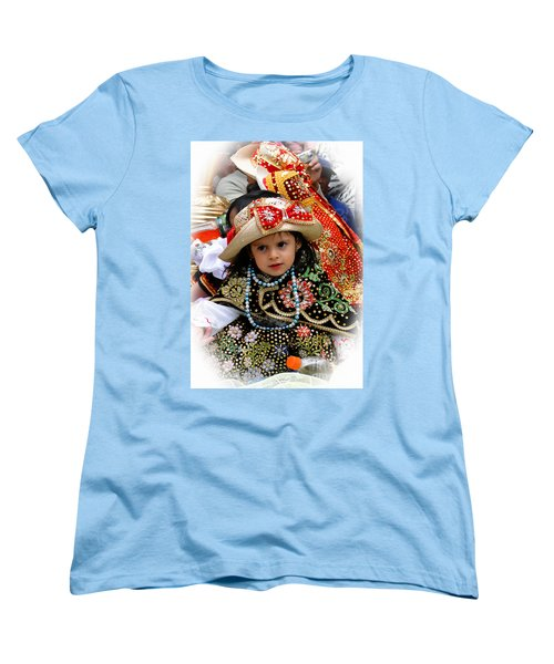 Women's T-Shirt (Standard Cut) featuring the photograph Cuenca Kids 900 by Al Bourassa