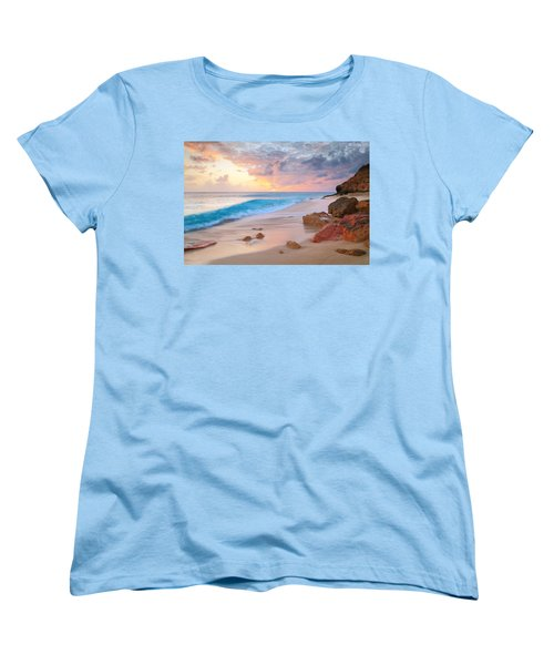 Cupecoy Beach Sunset Saint Maarten Women's T-Shirt (Standard Cut) by Roupen  Baker