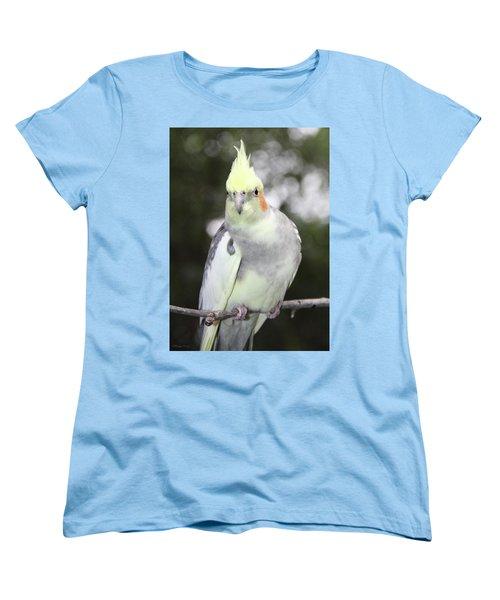 Curious Cockatiel Women's T-Shirt (Standard Cut) by Inspirational Photo Creations Audrey Woods