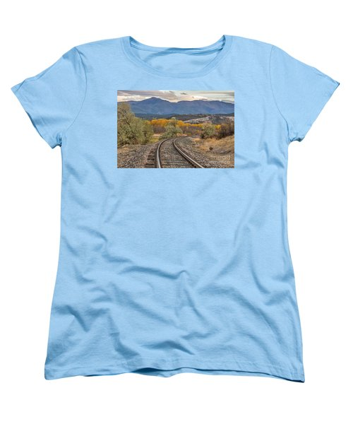 Curve In The Tracks In Autumn Women's T-Shirt (Standard Cut) by Sue Smith