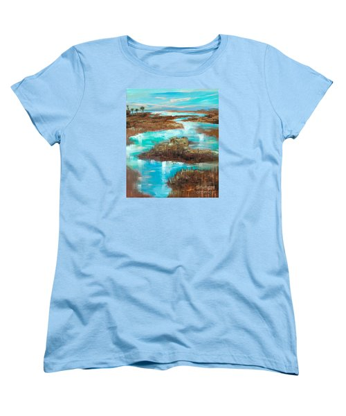 Women's T-Shirt (Standard Cut) featuring the painting A Few Palms by Linda Olsen