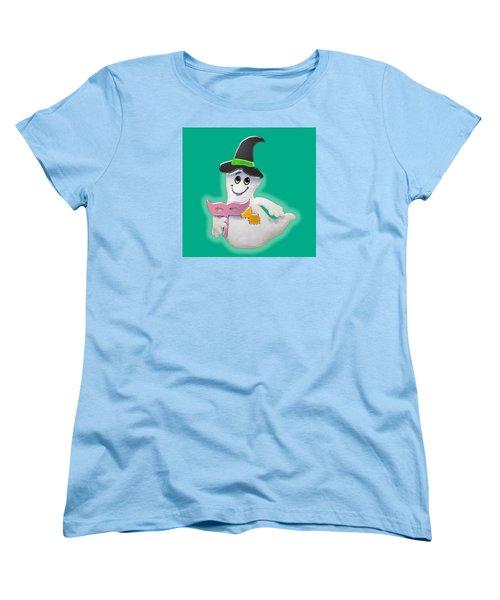 Cute Glowing Ghost Women's T-Shirt (Standard Cut) by Karen Nicholson