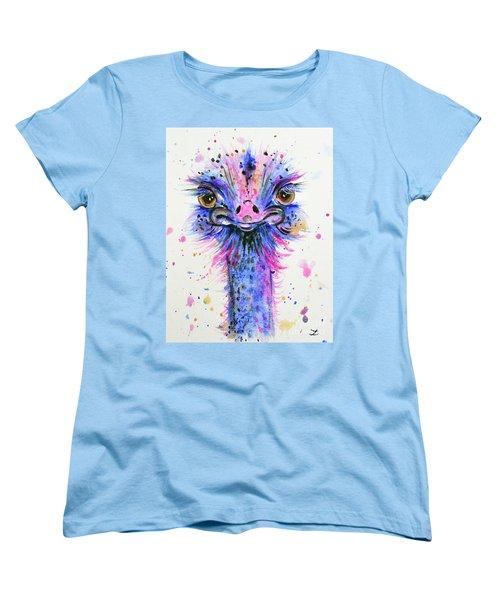 Cute Ostrich Women's T-Shirt (Standard Cut) by Zaira Dzhaubaeva