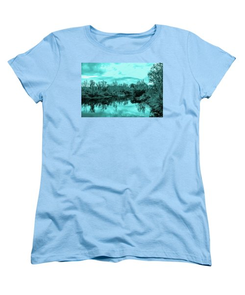 Women's T-Shirt (Standard Cut) featuring the photograph Cyan Dreaming - Sarasota Pond by Madeline Ellis