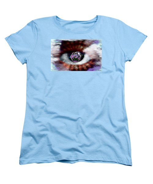 Women's T-Shirt (Standard Cut) featuring the digital art Cyber Oculus Cumulus by Iowan Stone-Flowers