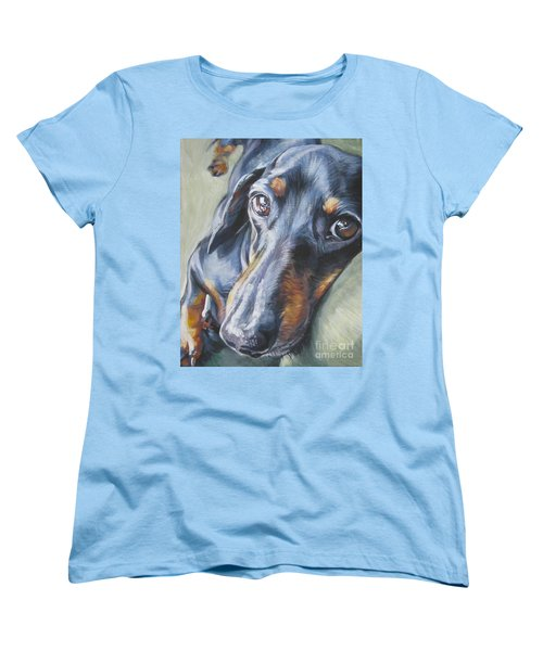 Dachshund Black And Tan Women's T-Shirt (Standard Cut) by Lee Ann Shepard