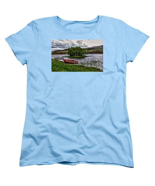 Women's T-Shirt (Standard Cut) featuring the painting Dads Fishing Spot P D P by David Dehner